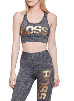 Hooded Caged Back Activewear Crop Top with Boss Graphic - 1058038347060