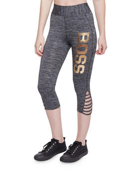 Caged Leg Activewear Capri Pants with Boss Graphic - 1058038347061