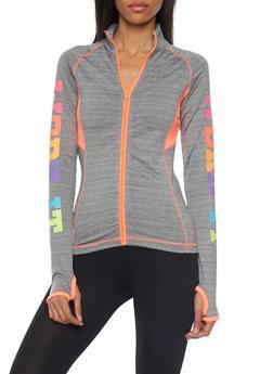 Zip Jacket with Work It Graphic - 1058038347200