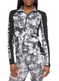 Athletic Long Sleeve Tye Dye Pull Over Jacket - BLACK - 1058038347400