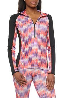 Athletic Long Sleeve Tye Dye Pull Over Jacket - 1058038347400