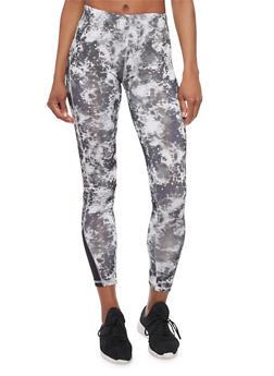 Tye Dye Athletic Leggings - BLACK - 1058038347401