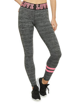 Space Dye Leggings with Graphic Love Print Waistband - 1058038347701