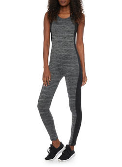 Sleeveless Active Catsuit with Marled Stripe Accent - CHARCOAL - 1058038348000