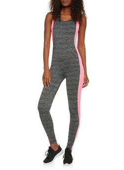 Sleeveless Active Catsuit with Marled Stripe Accent - PINK - 1058038348000