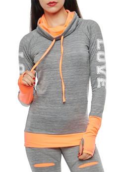 Love Graphic Cowl Neck Sweatshirt - 1058038348040