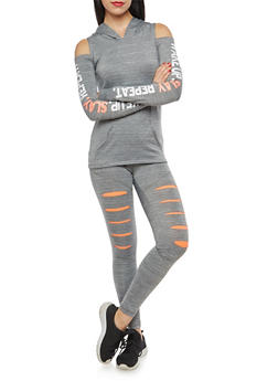 Cold Shoulder Graphic Hooded Activewear Top - 1058038348050