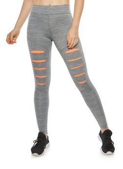 Slashed Activewear Leggings - 1058038348051