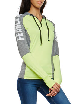 Marled Graphic Color Block Activewear Top - 1058038348099
