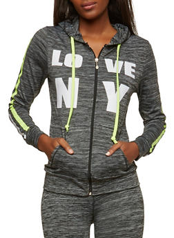 Love NY Graphic Active Hooded Top - 1058038348130