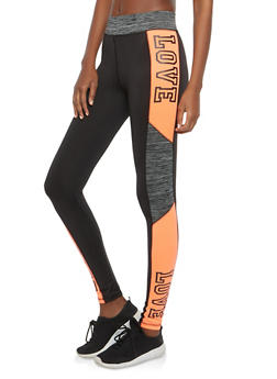 Love Foil Graphic Active Leggings - 1058038348141