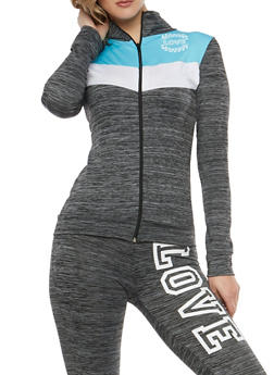 Color Block Love Graphic Zip Front Activewear Top - 1058038348150