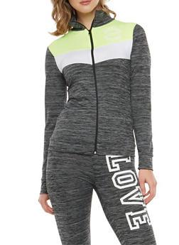 Color Block Love Graphic Zip Front Activewear Top - 1058038348150