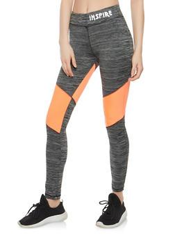 Color Block Active Leggings - 1058038348171