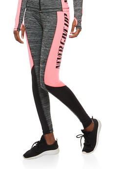 Never Give Up Graphic Activewear Leggings - 1058038348181