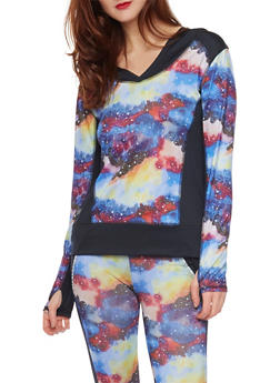 Hooded Activewear Top in Abstract Print - 1058051061009