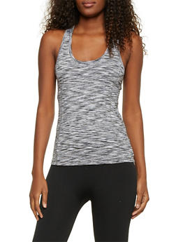 Space Dye Tank Top with Mesh Racerback - BLACK/WHITE - 1058054266291