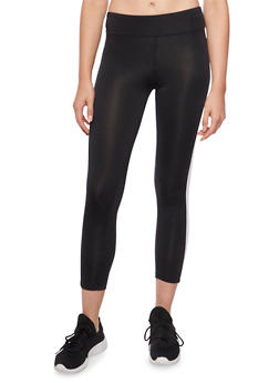 Cropped Color Block Leggings - BLACK/WHITE - 1058054266837