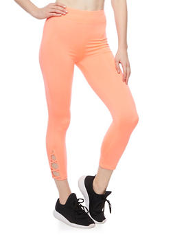 Cropped Leggings with Lace Up Panel - 1058054266857