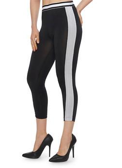Two Tone Mesh Activewear Leggings - BLACK/WHITE - 1058054267333