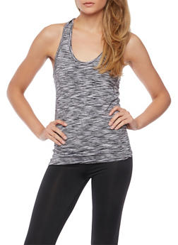Space Dye Racerback Tank Top with Mesh Back - BLACK/WHITE - 1058054269255