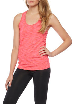 Space Dye Racerback Tank Top with Mesh Back - 1058054269255