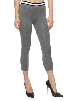 Solid Capri Legging with Lattice Leg Detail - 1058054269334