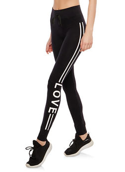 Graphic Love Athletic Striped Leggings - 1059001440113