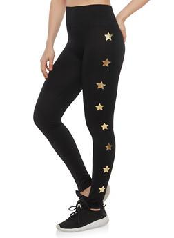 Pintuck Star Print Leggings - 1059061630006