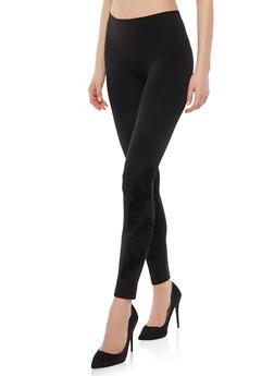 Velvet Print Fleece Lined Leggings - 1059061632140