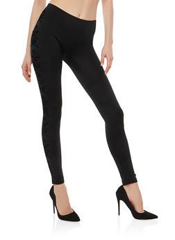Velvet Print Fleece Lined Leggings - 1059061632150
