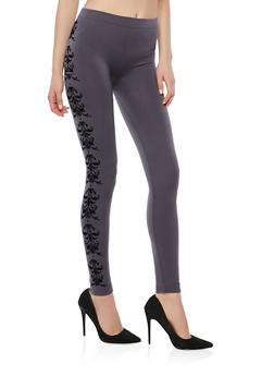 Velvet Print Fleece Lined Leggings - 1059061632150