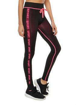 Sport Graphic Varsity Stripe Activewear Leggings - 1059061632250