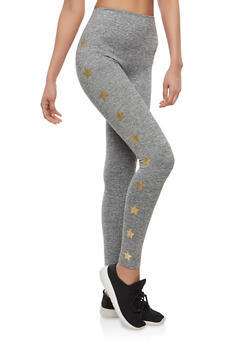 Foil Star Graphic Leggings - 1059061632402