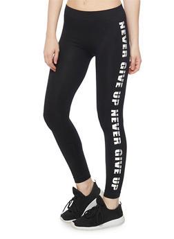 I Woke Up Like This Graphic Activewear Leggings - BLACK/WHITE - 1059061635790