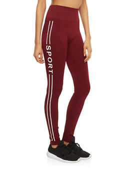 High Waisted Leggings with Stripe Sport Print Sides - BURGUNDY - 1059061636124