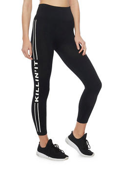 Graphic Cropped Leggings with Varsity Stripe - 1059061637580