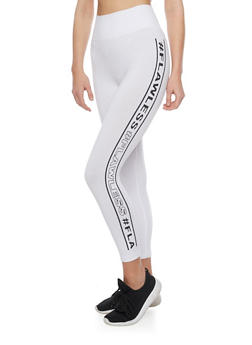 Graphic Cropped Leggings with Varsity Stripe - WHITE - 1059061637580