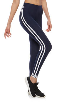Athletic Stripe Love Graphic Leggings - 1059061637818