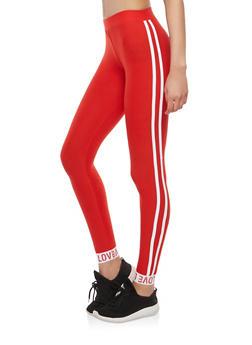 Athletic Stripe Love Graphic Leggings - 1059061637818