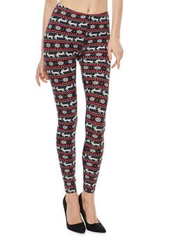 Soft Knit Reindeer Border Print Leggings - 1059062900050