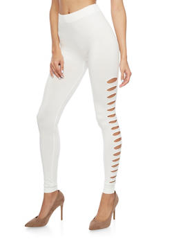 High Waisted Leggings with Side Cutouts - 1059062900105