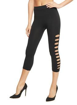 Side Slashed Capri Leggings - 1059062900500