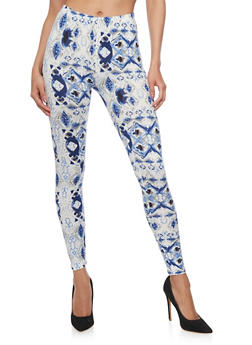 Two Tone Patterened Leggings - 1059062901015