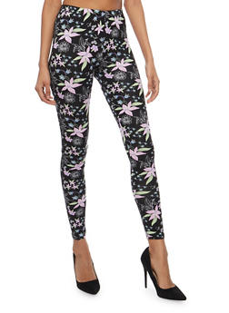 Soft Knit Floral Leggings - 1059062901607