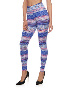 Paisley Print Leggings - 1059062902601