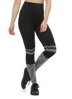 Marled Color Block Activewear Leggings - 1059062903301
