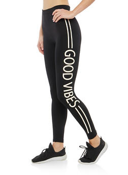 Good Vibes Graphic Fleece Lined Leggings - 1059062903601