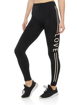 Love Graphic Fleece Lined Leggings - 1059062903605