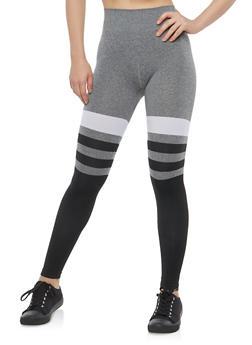 Striped Color Block Leggings - 1059062903701